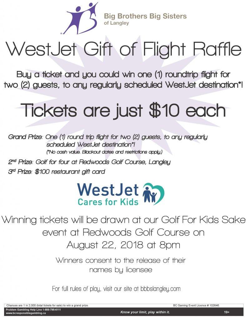 WestJet Gift Of Flight Raffle 2018 - Big Brothers Big